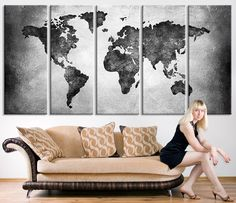 Amazon canvas prints map art wall decor 3 panel large world large canvas print black and white world map wall art large wall art world gumiabroncs Image collections