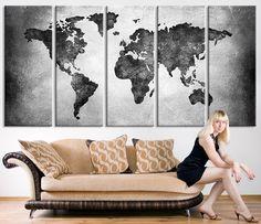 Large Canvas Print - Black and White World Map Wall Art,  Large Wall Art World…