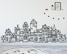 Unique Wall Decals, Clip Art, Mugs, Gifts, & More! Scandinavian Style, Scandinavian Garden, Scandinavian Nursery, Nursery Wall Decals, Vinyl Wall Stickers, Village Drawing, Building Art, Face Design, Kids Decor