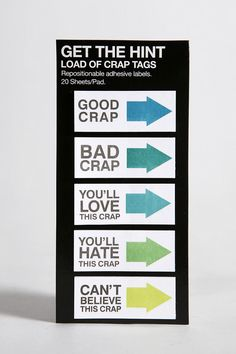 [Urban Outfitters Get the Hint Load of Crap Tags Stickies] #office #products $6