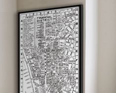 New York City Map :   - Financial District Map - Archival New York Map Print - Giclee Print - Circa 1955