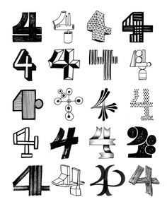 Leftovers — Friends of Type. Within my moving image piece I have so far decided to not use coloured text feeling that black text gives the animation a greater sense of unity. The image here of various style number 4's has been an inspiration for this as the varying styles are all linked together by the same colour. These typefaces are all very playful, something it was suggested that I try to add to my animation.