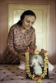 On Sacred Ground / Mehera in Beloved Baba's Bedroom, early 1980's. (Photo by Lindesay Reiter)