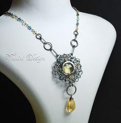 Sun & Earth-Fine/Sterling Silver,Lemon Quartz,Golden Citrine,Teal blue quartz Necklace   Flickr - Photo Sharing!