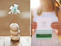 Fringed tissue paper invite and toothpick