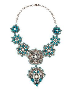 Crystal and Resin Bib Necklace, Blue by Deepa Gurnani at Last Call by Neiman Marcus.