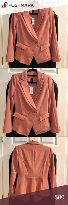 NWT White House Black Market Blazer (Rich Blush) Long Sleeve 2 Button Fashion Blazer (Rich Blush) Size 0. (Seller Comment: I generally wear an XS or S and feel this coat stretches and runs big.) White House Black Market Jackets & Coats Blazers