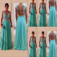 lace prom dress, backless prom dress, blue prom dress, prom dress 2015, cheap…
