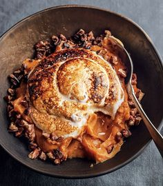 Sweet Potato Puree with Marshmallow and Pecans | Amp up sweet potatoes with brown sugar, pie spices, butter, toasted pecans and a homemade marshmallow topping.