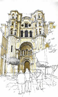 Four sketchers in Málaga this time! We started in the side entrance of the cathedral. We took our time.