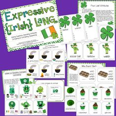 Speech Room News: Expressive Language for St. Patty! Pinned by SOS Inc. Resources. Follow all our boards at pinterest.com/sostherapy for therapy resources.