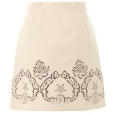 DOLCE & GABBANA Laser-cut leather skirt ($1,551) ❤ liked on Polyvore featuring skirts, cream, button up skirt, cream skirt, laser cut leather skirt, dolce gabbana skirt and button down skirt
