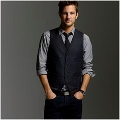 Vest Style #2. A simple matching tie makes the difference. Jeans still make the trick to give an interesting touch. No loafers with this getup