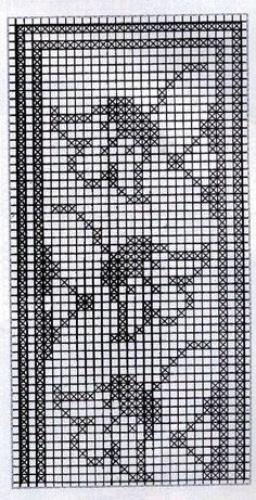Filet Crochet Charts, Crochet Borders, Tunisian Crochet, Knitting Charts, Crochet Motif, Crochet Doilies, Crochet Patterns, Cross Stitch Borders, Cross Stitch Alphabet