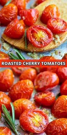 Roasted Cherry Tomatoes are tossed in olive oil and crushed garlic for a quick, easy, and healthy addition to any pasta, baguette, or grilled chicken recipe.  This roasted tomatoes recipe can be made with either cherry or grape tomatoes and is gluten-free, vegan, vegetarian, Whole30, and Paleo-approved. #roastedtomatoes #tomato #recipe #cherrytomatoes #vegan #whole30