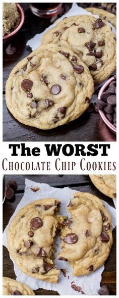 These Chocolate Chip Cookies will RUIN your life (in the best way)! Proceed with caution! These Chocolate Chip Cookies will RUIN your life (in the best way)! Proceed with caution! Soft Chocolate Chip Cookies, Chocolate Cookie Recipes, Easy Cookie Recipes, Dessert Recipes, Gooey Cookies, Ghirardelli Chocolate Chip Cookies, Chocolate Chip Pancakes, Chocolate Chips, Chocolate Cake
