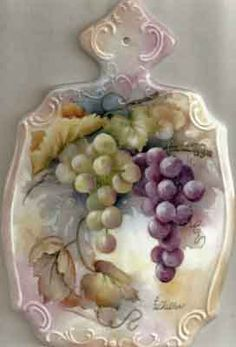 Porcelain cheese board painted with grapes by porcelain artist and teacher, Charlene Ferrell Whitler