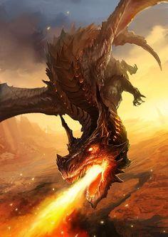 Beautiful pictures of dragons Dragon art and drawings Dark Fantasy Art, Fantasy Artwork, Mythical Creatures Art, Magical Creatures, Mythical Dragons, Cool Dragons, Dragon Artwork, Fire Dragon, Smaug Dragon