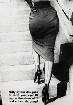 One of my all time favorite styles -- pencil skirt and nylons with a line up the back. Sexy meets classic; all you need is a form-fitting cashmere cardigan and you're set.