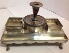 Antique Silver Footed Desk Inkwells Candle Pen Pencil Holder 2Secretcompartments