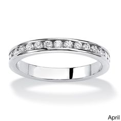 Palm Beach Jewelry PalmBeach Sterling Silver Round Birthstone Stackable Eternity Band (Size 6 - April - Simulated Diamond), Women's