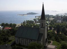 Hanko church by Burj Khalifa, View Image, Cabin, River, House Styles, Building, Cabins, Buildings, Cottage