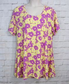 NEW Womens Plus LULAROE Perfect Tee Multi-Color Floral Print Knit Top Size 3XL #LulaRoe #KnitTop #Casual