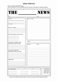 Blank Newspaper Templates Newspaper Template For Kids regarding Blank Newspaper Template For Word Newspaper Article Template, Newspaper Format, Newspaper Report, Newspaper Front Pages, Google Docs, School Newsletter Template, Report Template, Report Writing, Business Plan Template