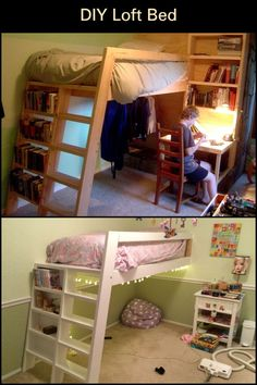 Is your child's room a little lacking in space? Give it some functionality by building this DIY loft bed!  This build combines a desk, hanging space, shelving, and a place to sleep in one piece of furniture. It's also relatively cheaper to build than buy so not only are you saving money, you're saving space too! Child's Room, Campers, Bunk Beds, Your Child, Storage Spaces, Shelving, Saving Money, Kids Room, Loft