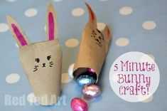 """5 min Easter Bunny Craft. These would be great for an Easter Bunny Hunt or as """"class gifts""""...."""
