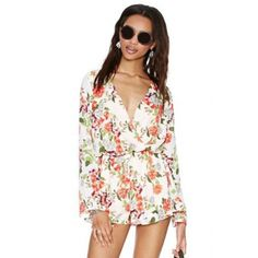 USD16.49Sexy V Neck Long Sleeves Floral Print Polyester One-piece Loose Jumpsuit