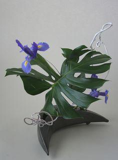Ikebana with iris, monstera and kiwi vine by sogetsudc, via Flickr