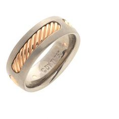 David Yurman Titanium And Rose Gold Mens Cable Ring