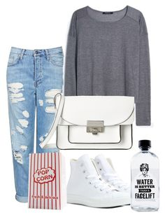 """""""Easy👌🏼"""" by weligiis ❤ liked on Polyvore featuring Topshop, MANGO, Converse, Marc by Marc Jacobs, Aquaovo and Nespresso"""
