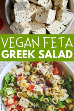 A quick and easy Vegan Feta Greek Salad. This healthy and nutritious salad is a great alternative to the traditional Greek Salad.  Packed full of hearty veg, pasta and vegan tofu feta. Great for a light lunch.