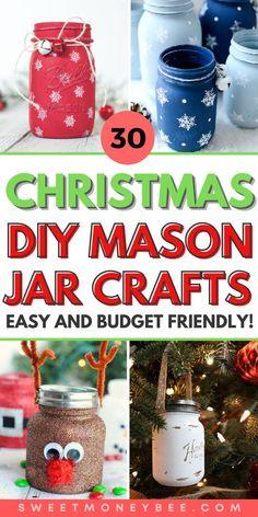 Mason Jar Christmas Crafts, Christmas Crafts For Kids, Diy Christmas Gifts, Holiday Crafts, Kids Crafts, Christmas Ideas, Christmas Decorations, Christmas Ornaments, Mason Jar Gifts