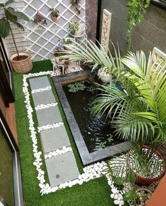Garden Patio Design Models That Are Comfortable For Your Soul Of Diy Abschnitt, Garden Pond Design, Backyard Patio Designs, Backyard Landscaping, Patio Ideas, Minimalist Garden, Minimalist Home, Fish Ponds Backyard, Small Patio Furniture, House Furniture