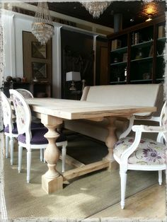Reclaimed wood dining table. Made entirely out of barn beams