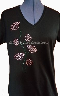 Rhinestone T-shirt, 'Roses on Vine' Design, Women's Tee -Crystal Decorated Shirt by GlitzyHeartCreations on Etsy Rhinestone Shirts, Vine Design, V Neck T Shirt, Vines, Crystals, Lady, Cotton, Tops, Fashion