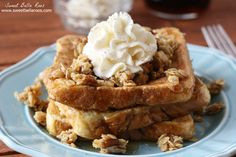 Pecan Pie French Toast- sweetened with vanilla and cinnamon, topped with chewy pecan pie granola
