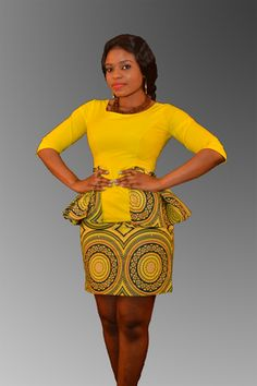 Yellow Peplum Blouse and Skirt