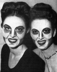 Max Factor's Clown Contouring Make-Up of Early Television - I doubt these ladies felt at all ready for their close-up, but this is what it looked like to be camera-ready in the early years of black & white commercial television.