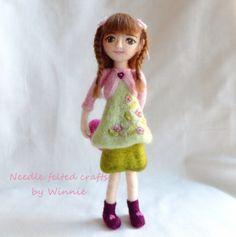 Sweet girl with heart handmade needle felted OOAK doll