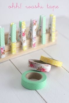Great use of Washi Tape!!! LOVE how easy this would be, compared to decoupaging patterned paper onto clothespins.