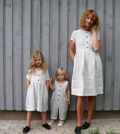 Matching Dress - Linen Dress - Matching Mommy and Me Striped Dresses - Matching Linen Outfit - Handmade by OFFON - Matching mother and daughter dresses and jumpsuit. (Please leave us a note - Jumpsuits For Girls, Moda Casual, Mothers Dresses, Mother And Daughter Dresses, Picture Outfits, Sienna Miller, Linen Dresses, Striped Dress, Baby Dress