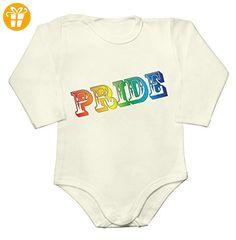 LGBT PRIDE Colored Rainbow Letters Baby Long Sleeve Romper Bodysuit Large - Baby bodys baby einteiler baby stampler (*Partner-Link)