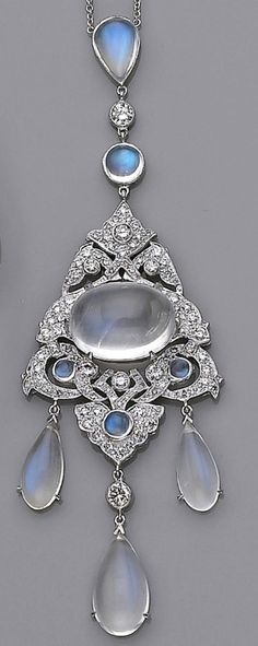 Moonstone and Diamond Antique Necklace