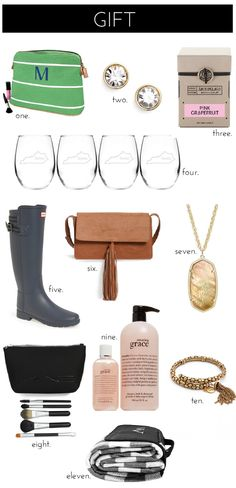 Nordstrom Anniversary Sale: Gift Ideas (Hunter boots, tassel cross body bag, MAC brushes, state wine glasses, monogram cosmetic bag)