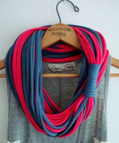 String Theory...Multi string infinity scarf in bright pink and indigo blue.