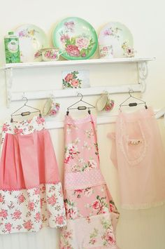 So much gorgeously sweet pink and green floral loveliness! #pink #green #kitchen #plates #apron #vintage #shabby #chic #collection #home #decor